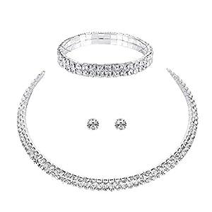 3 tlg. Set COLLIER Halskette Ohrringe Armband Strass BRAUTSCHMUCK HOCHZEIT BRAUT SCHMUCK Hochzeit