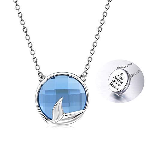 Meerjungfrau Halskette Schmuck Inspirierend Gehen Sie in die Richtung Ihrer Träume Sterling Silber Anhänger,mit Swarovski Kristall