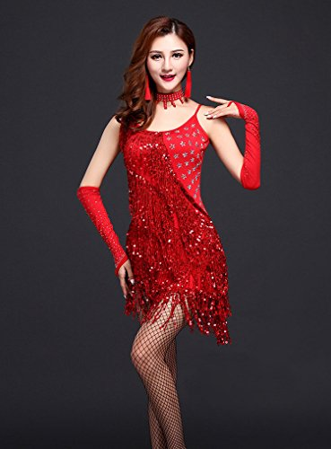 Honeystore 2016 Neuheiten Damen Quasten Swing Rhythmus Jazz Latein Dance Kleid mit Pailletten Rot