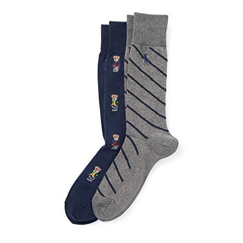 Ralph Lauren - 2er-Set Socken mit Polo Bear - Einheitsgröße (EU 39 - EU 45) - Marineblau sortiert (2 Lauren Ralph Männer)