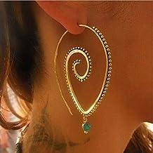 Yesiidor - Pendientes ovalados en espiral estilo bohemio vintage con diamantes de imitación verdes, Aleación
