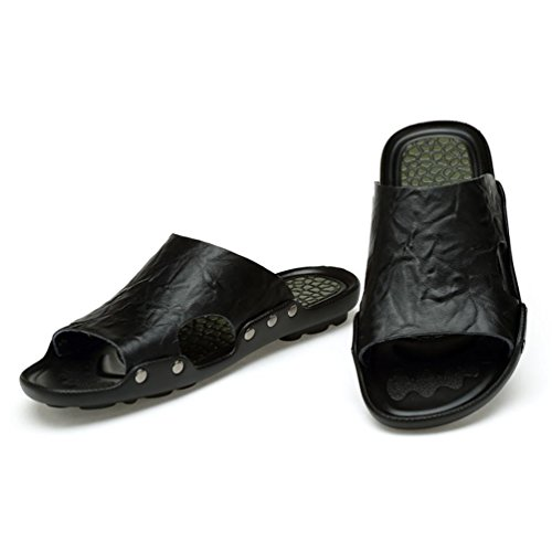SHANGXIAN Männer Sommer Strand Flip Flops Lässige Ledersandalen Black