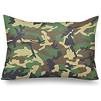 InterestPrint Fundas de almohada rectangulares para sofá, camuflaje, camuflaje, estilo militar, estilo