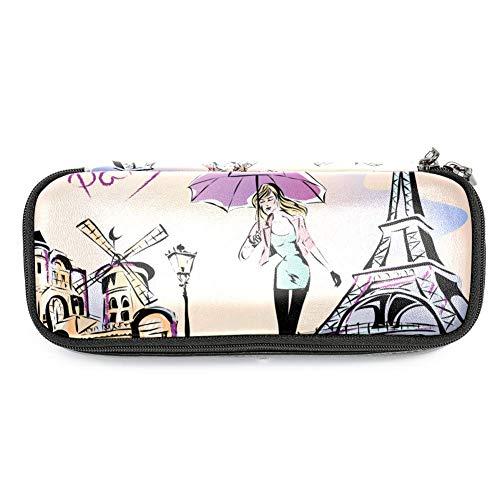 TIZORAX Federmäppchen für Mädchen, regendes Tag in Paris, Federmäppchen, Make-up-Tasche, Studenten, Schreibwaren, Stifthalter für Schule/Büro - Paris, Tag, Tasche