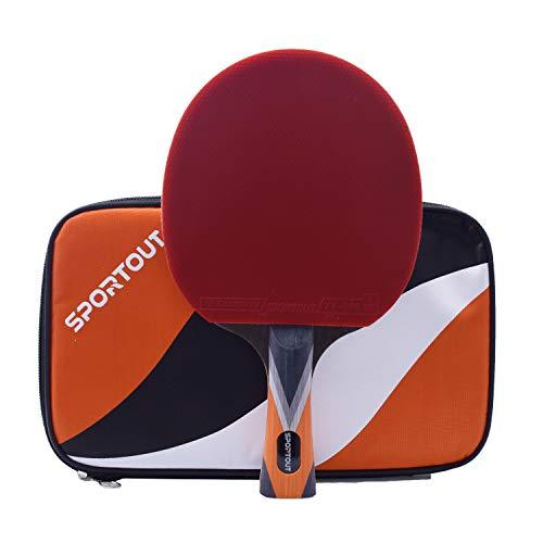Easy-Room ITTF genehmigter Tischtennisschläger, professioneller Pingpong-Schläger, Schläger mit Tasche, 9 Lagen Sperrholz und 8-lagiger Kohlenstoff Verstärkung (Mittlerer Einzelschuss #2)