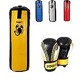 POWRX Boxset für Kinder/Jugendliche, Boxhandschuhe + Boxsack - ab 6 ((2.5 Fuß) (gelb/schwarz))