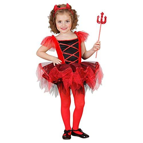NET TOYS Kinder Teufel Kostüm Ballerina Teufelkostüm rot XS 110cm 3-4 Jahre Kinderkostüm Halloween Teufelskostüm Tütü ()