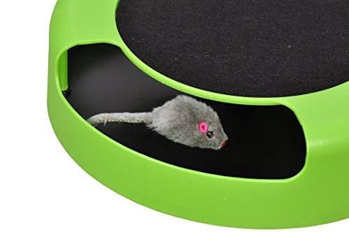 """Tech Traders®, bewegliches Katzenspielzeug """"Fang die Maus"""" aus Plüsch mit Kratzmatte für die Krallenpflege - 5"""