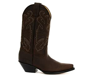Brown Leather Buffalo Cowboy Boots by Grinders
