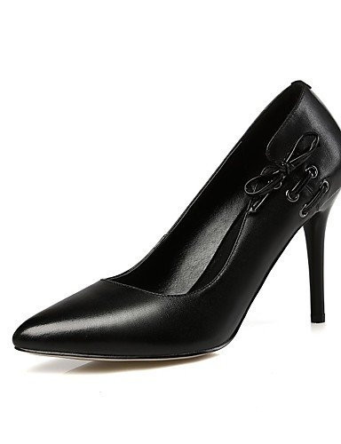 WSS 2016 Chaussures Femme-Bureau & Travail / Décontracté-Noir / Rouge-Talon Aiguille-Talons / Bout Pointu-Chaussures à Talons-Cuir black-us8 / eu39 / uk6 / cn39