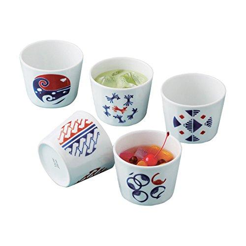 Saikai cerámica 5 conjunto de estilo Japonés Tazas Té De postre 5 diseños diferentes 14132 de Japón
