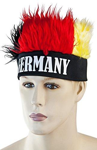 Deutschland Fanartikel zur Weltmeisterschaft 2018 WM in Russland - Deutschlandfahne, Brille, Schminke Fanmeile (Irokesen Perücke)