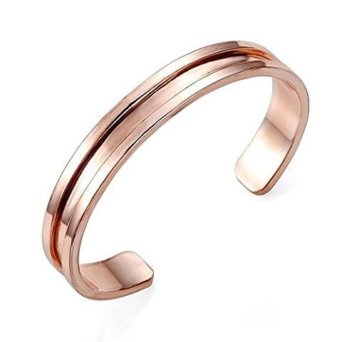 Stainless Steel Cuff Bangle Hair Tie Bracelet for Women Band Elegant (Rose Gold)