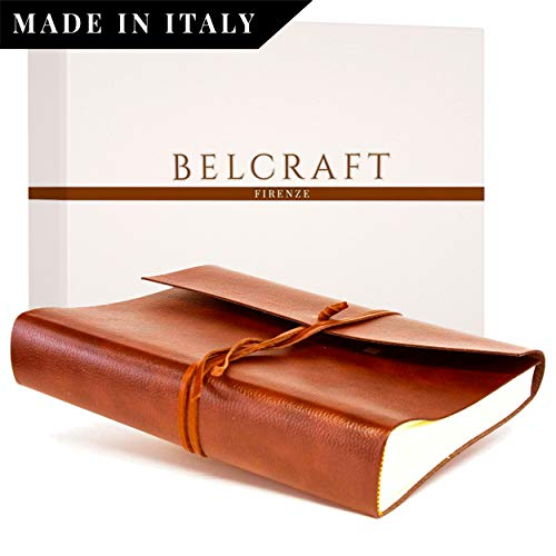 Tivoli Fotoalbum aus recyceltem Leder fadenheftung, Handgearbeitet in klassischem italienischem Stil, Geschenkschachtel inklusive, A4 (23x30 cm) Hellbraun -