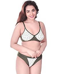 dd224728ae Laviacat Olive Green Colored Floral Printed T-Shirt Cotton Bra