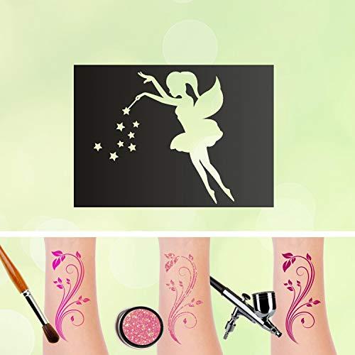 Tattoo - stencil autoadesivo per bambini, motivo: fatina con stelle, v2