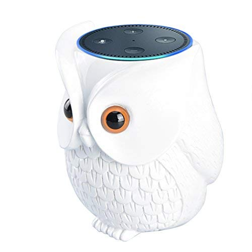 BFF for Alexa Uarter Owl Statue Crafted Guard Station for Amazon Echo Dot 2nd and 1St, White