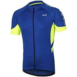 Ketamyy Hombre Secado Rápido Transpirable Manga Corta Maillot Ciclismo Ropa Bicicleta Azul Oscuro L