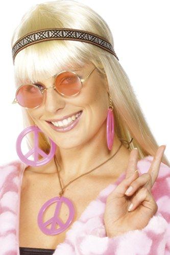 Smiffys - Hippieset Hippie Kopfband Peace Zeichen Pink Ohrring Kopfband zur Perü (Zeichen World Peace)