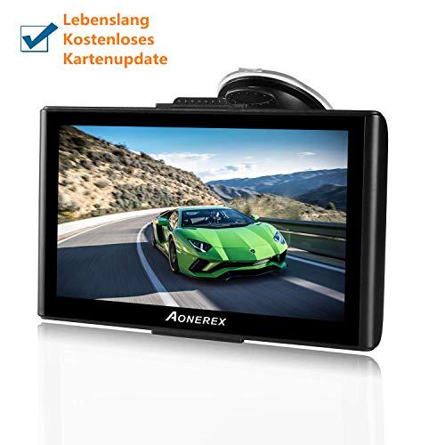 GPS Navi Navigation für Auto LKW PKW 7 Zoll Touchscreen mit Sonnenschutz Eingebaut 8GB 256MB Aonerex Navigationsgerät Sprachführung Fahrspurassistent Europa Maps Lebenslang Kartenupdates