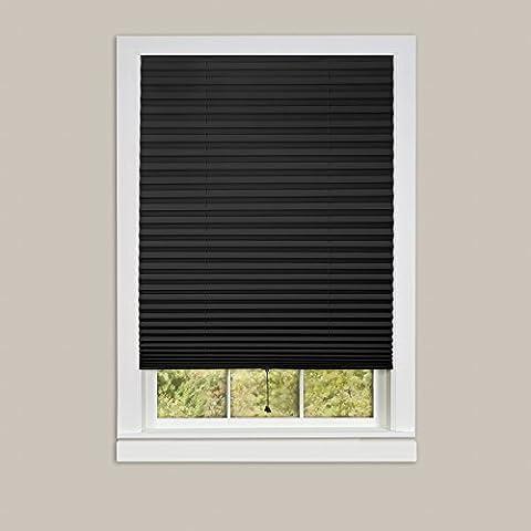 Achim Home Furnishings 1-2-3 Vinyl Room Darkening Temporary Pleated Window Shade, 36 by 75, black, 36 X 75 by Achim Home Furnishings
