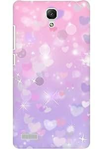 AMEZ designer printed 3d premium high quality back case cover for Xiaomi Redmi Note (hearts pink shine)