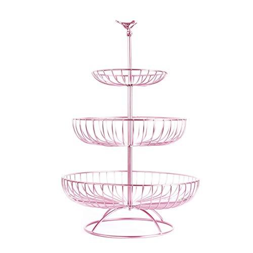 JKAD Frutero 3 Pisos Cuencos Decorativos Grandes nórdicos Modernos del Cuenco de Fruta del Hierro para Las bandejas del bocado de la Sala de Estar