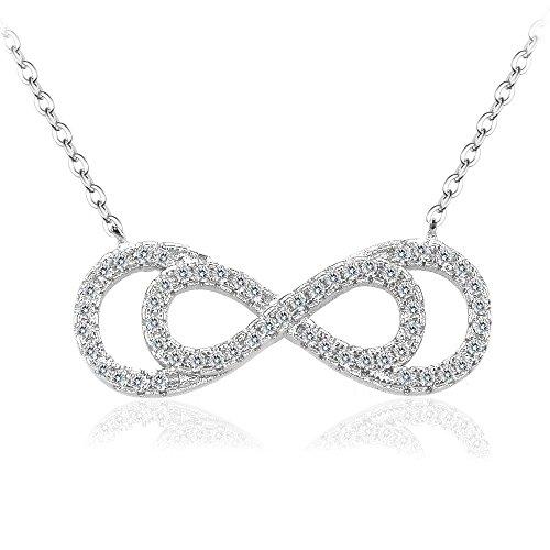 BiBeary Damen elegant 925 Sterling Silber Zirkonia CZ Unendlichkeit Ewigkeit doppel 8 Form Chain Halskette Kette klar