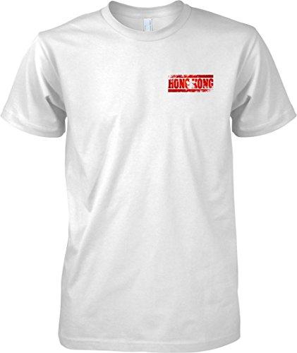 Hong Kong Grunge Country Name Flag Effect - Mens Chest Design T Shirt - White - Adult Mens 50-52
