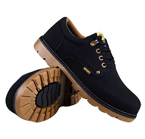 Ein Bißchen Herren Rutschfeste Fashion Mode warm britische Stil Chukka Boots Stiefel schwarz-B