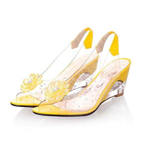 caramella cristallo superficiale Taglia yellow Sandali pendio Colori donna multicolor di tacco WYWQ fiori traforato pesce Codice cucitura strass bocca bocca Trasparente wCp6qp