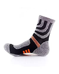 Waymoda 3 Pairs Adults Crew Socks- Outdoor Running Hiking Trekking Athletic Sports Sox, Quick Drying, Polyester comfy Elastic Non Slip buffer Liner Cushioned, Unisex Mens Womens UK 6-10/EUR 39-44