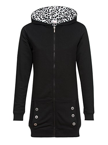 Pussy Deluxe Black Longsweater Coat With White Leo Lining Felpa jogging donna nero XXL