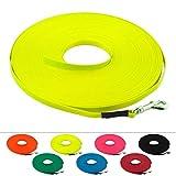 LENNIE Leichte BioThane Schleppleine, 9mm, Hunde bis 5kg, 12m lang, ohne Handschlaufe, Neon-Gelb, genäht