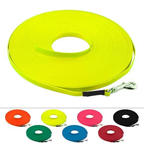 LENNIE Leichte BioThane Schleppleine, 9mm, Hunde bis 5kg, 5m lang, ohne Handschlaufe, Neon-Gelb, genäht
