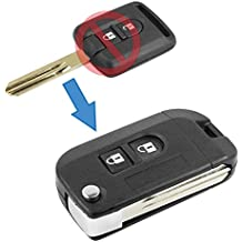 NISSAN QASHQAI. Carcasa Llave Cáscara Kit Conversión modifica mando Negro 2 teclas de hoja de fijación plegable Nissan