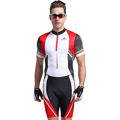NUCKILY Summer Triathlon Suit Short Sleeve Cycling Skinsuit for Men/Women Large