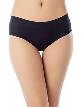iB-iP Mujer Confort Suave Algodón Simple Puro C De Poca Altura Pantalón Hipster