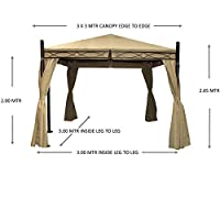 Gazebo Paris 3m X 3m Dark Cream Fully Waterproof Pvc Lined Canopy Heavy Duty Complete With Zipped Curtains *****stock In End Of February***** from MASTERS OUTDOOR LEISURE LTD