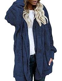 Romacci Mujer Abrigo de Lana de Piel sintética Reversible Fluffy Sólido Encapuchado Frente Abierto Manga Larga