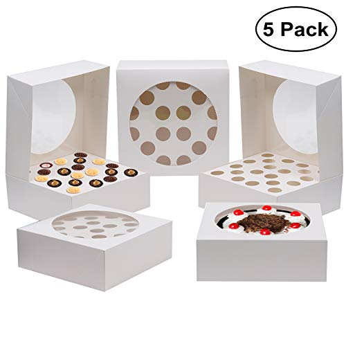 5 Pcs Cupcake Boxen - Cupcake Holder fur 20 Cupcakes oder große Kuchen - Kuchen Carrier Container 28,5 x 28,5 cm Box - Karton Muffin Tablett mit transparentem Fenster für Hochzeit, Geburtstagsfeier (Fenster-kuchen-boxen)