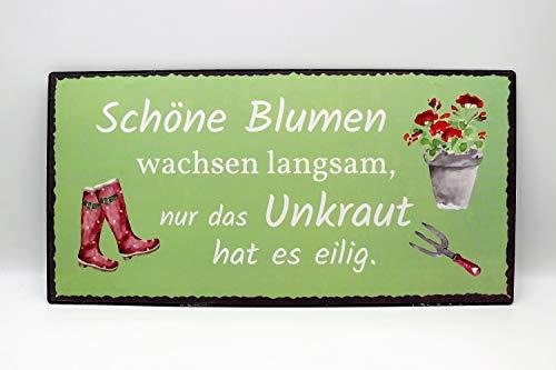 Bo Metall Schild Schöne Blumen wachsen langsam 40x20cm Gartendeko Spruch Tafel
