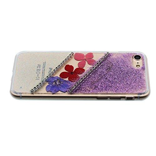 """iPhone 6S Coque Case Joli Briller Rose Poudre Bling Cristal Strass Exquis Fleurs Muster Flexible Transparente étui pour Apple iPhone 6 6S 4.7"""" Anti Choc Mince et Poids léger Violet"""