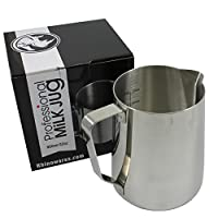 BrewGlobal Rhinoware Professional Milk Pitcher, Stainless Steel 32 oz (RHMJ32oz)