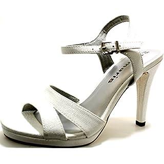 Tamaris Sandaletten 1-28007-20 Damen Plateau Riemchen High Heels, Schuhgröße:37;Farbe:Weiß