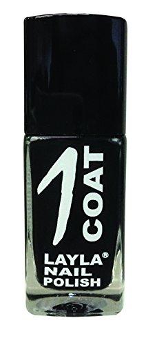 Layla 1262R23-012 1 Coat Smalto per Unghie, Tonalità 12 Black Rock