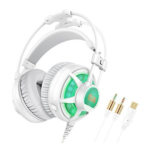 Price comparison product image Honstek G6 Pro PC Vibration Gaming Headset, Stereo Surround Sound Over-Ear Gaming Headphones for Computer/Laptop, Free-drive Cheap Headphones Gaming with Micro, Volume&Vibration Control, LED Lighting, Dual 3.5mm Jacks&USB Plug (White/Grey)