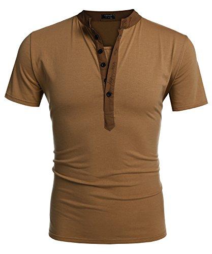Coofandy Herren V-Ausschnitt t-shirts T-Shirt kurzarm mit Knöpfen Slim Fit Freizeit t-shirts Braun