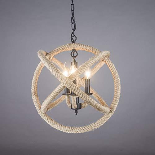 QYRL Hanfseil Ball Kronleuchter-Industrial Retro Style 3-Lights   E14 Birnen (35Cm) für Schlafzimmer Wohnzimmer Esszimmer Bar - Die 3 Hellen, Rustikalen Kronleuchter