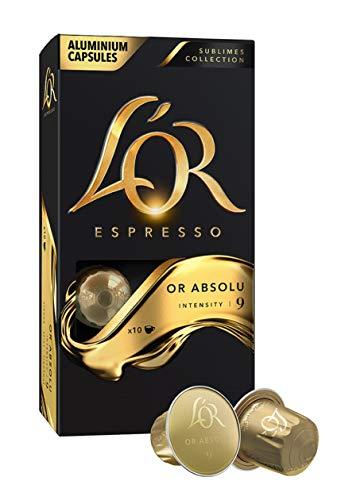 L'Or Espresso Or absolu - Intensité 9 - 50 Capsules en Aluminium Compatibles Nespresso®* (Lot de 5X10 capsules)
